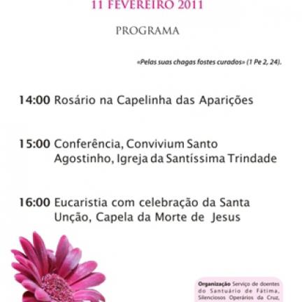 Día Mundial del Enfermo será celebrado en Fátima